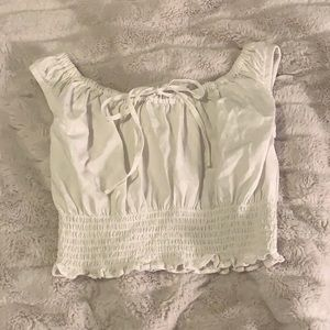 NWOT Brandy Melville baby doll tie scrunched cropped tank top John Galt (white)